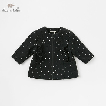 DB8677 dave bella autumn winter baby girls sky black jacket children fashion outerwear kids coat image