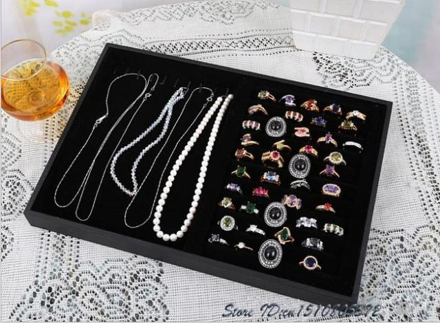 Jewelry Display Tray Necklace Holder Earring Studs Organizer Ring