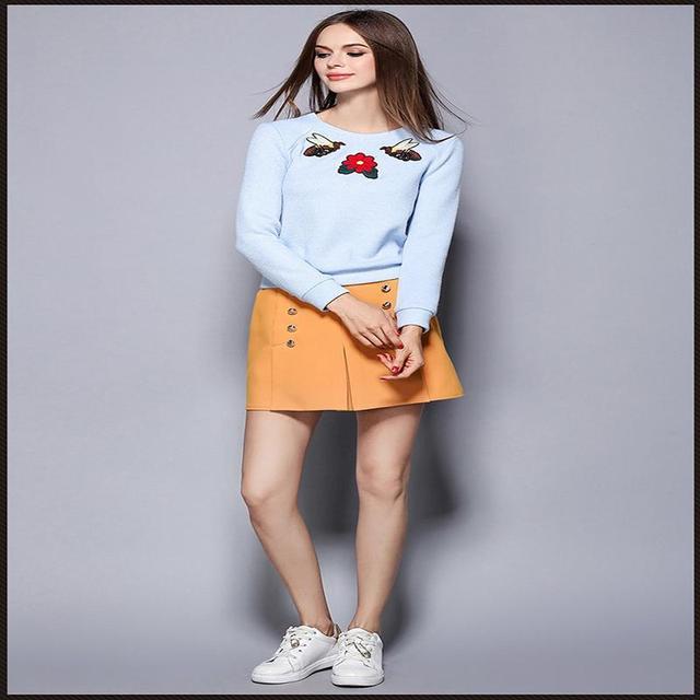 Новый Женский Птица Вышивка вязаный свитер + шорты юбка из двух частей плюс размер женская одежда 2016 Осень