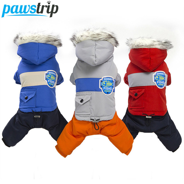 pawstrip Soft Winter Dog Clothes Puppy Jumpsuit Clothing Warm Dog Coat With Hood Fur Collar Pet Apparel Winter Dog Outfits S-XXL