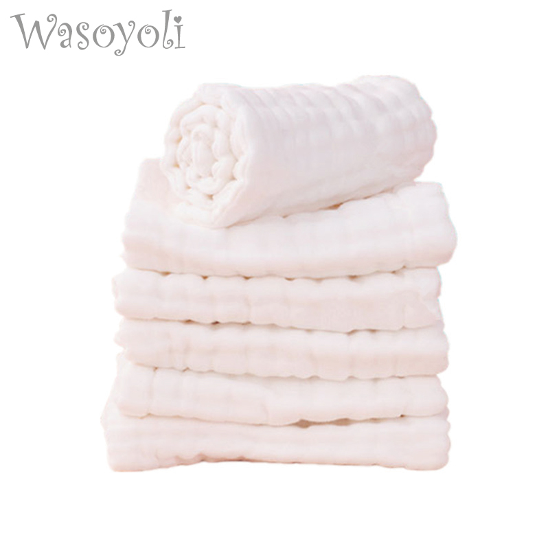 Wasoyoli 5 Peices / Lot 8 Layers White Burp Cloths 17x46cm 100% Muslin Cotton Seersckuer Infant Feeding Bathing Face Washing
