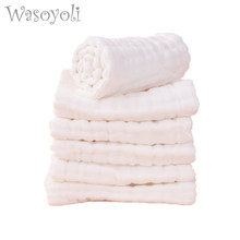 Wasoyoli 5 Peices / Lot 8 Layers White Burp Cloths 17x46cm 100% Muslin Cotton Seersckuer Infant Feeding Bathing Face Washing(China)