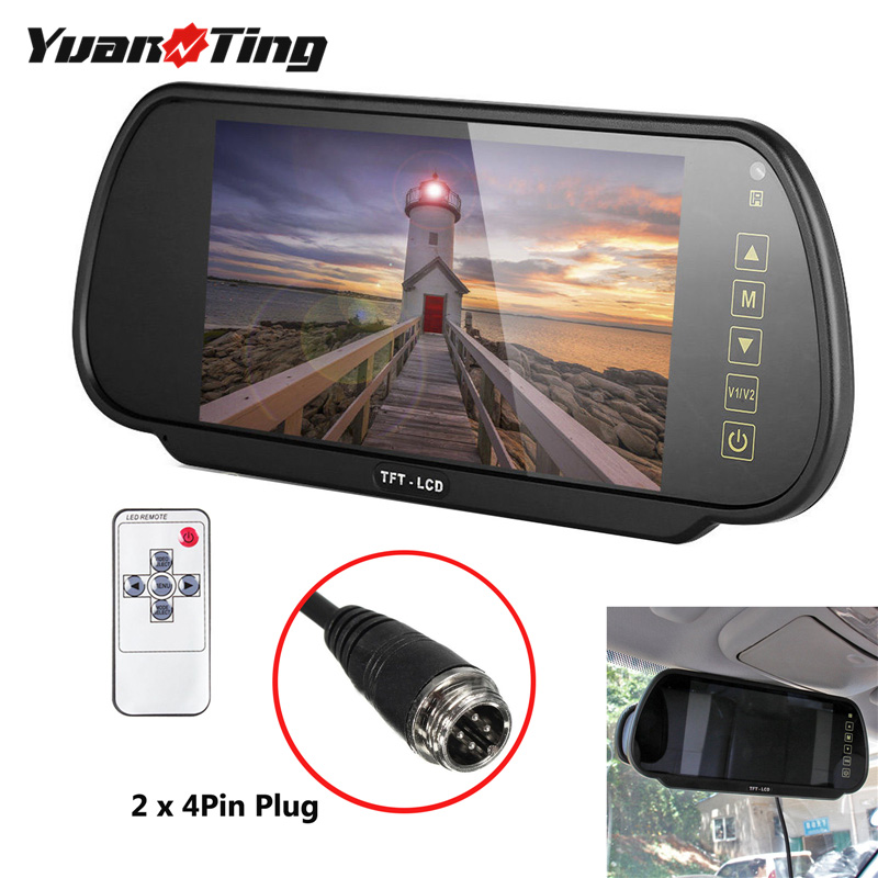 YuanTing Van Truck RV 7 Inch LCD Screen Rear View Monitor Mirror Reversing Parking CCTV Assistant For 4 Pin Connector Camera