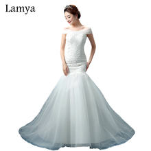 LAMYA Lace Mermaid Vestido De Noiva 2019 Sweatheart Court Train Wedding Dress Fashionable Romantic Bridal Gown WD3082(China)