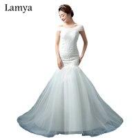 Lamya Lace Mermaid Vestido De Noiva 2017 Sweatheart Court Train Wedding Dress Fashionable Romantic Bridal Gown