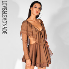 Love&Lemonade Sexy Deep V Neck Cut Out Double Ruffled Chiffon Open Back Long Sleeve Dress LM81590(China)