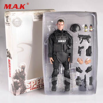 "1/6 Scale Movable 3 Style 12"" SWAT Black Uniform Military Army Combat Game Toys Soldier Set Action Figure Model Toys 1"