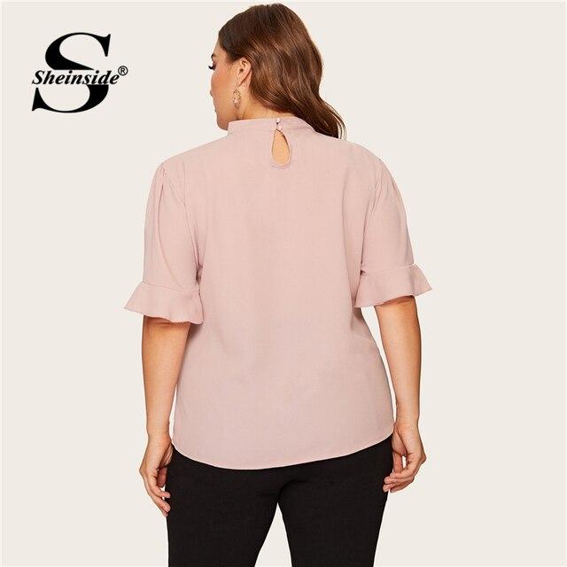 Sheinside Plus Size Pink Flounce Sleeve Ruffle Blouse Elegant Top Female Summer Tops for Women 2019 Keyhole Neckline Blouses 1