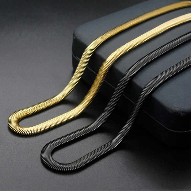 Stainless Steel Charms Chain Necklace Flat Snake Chains Black Gold Color Men Necklace 50-60cm Length Fashion Jewelry