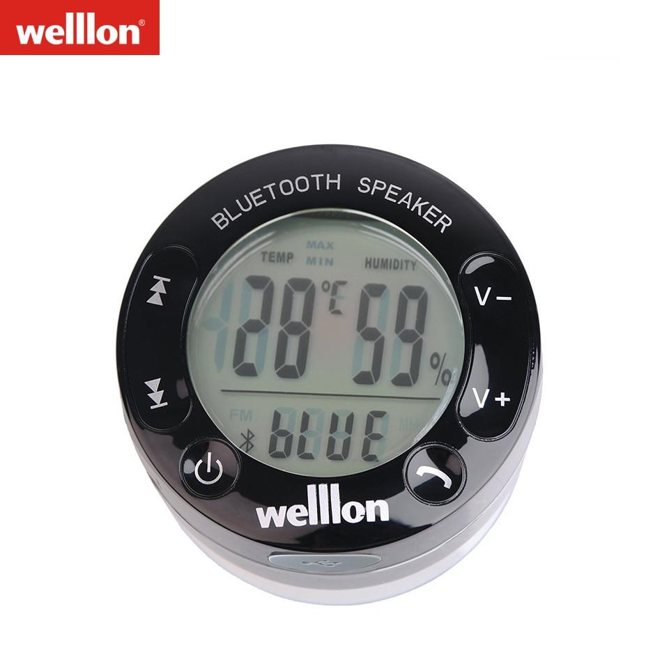 Welllon LCD Display IPX4 Splashproof Portable Shower Speakers Touch buttons Power Grip Mini Wireless Bluetooth Loudspeaker