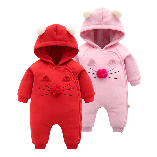 3e1f5c00b081 Cute Bay Cat Romper Newborn Baby Outdoor Clothes Thick Warm Velvet ...