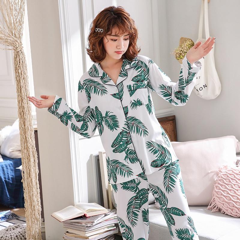 fe02ae5021 WAVMIT Factory Sale 2019 Women Pajamas Sets Lovely Home Wear Long Sleeve  Cotton Pyjamas Comfortable Loose