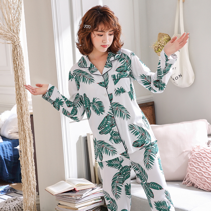 WAVMIT Factory Sale 2019 Women Pajamas Sets Lovely Home Wear Long Sleeve Cotton Pyjamas Comfortable Loose Leisure Girl Sleepwear