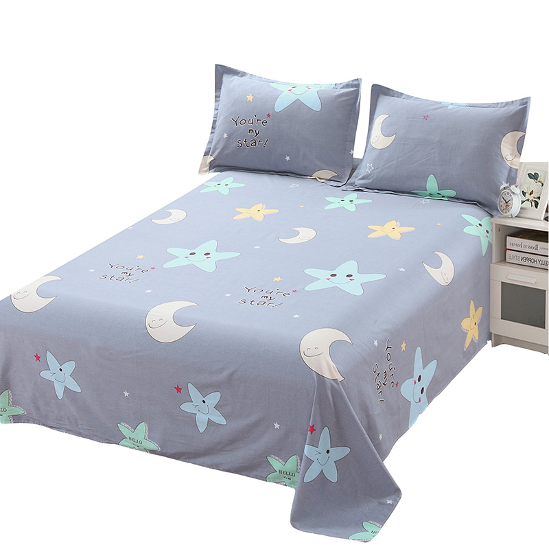 Blue white yellow star flat sheet cartoon Children students bedding high quality cotton 3pcs sets pillowcase bed sheet bedspread