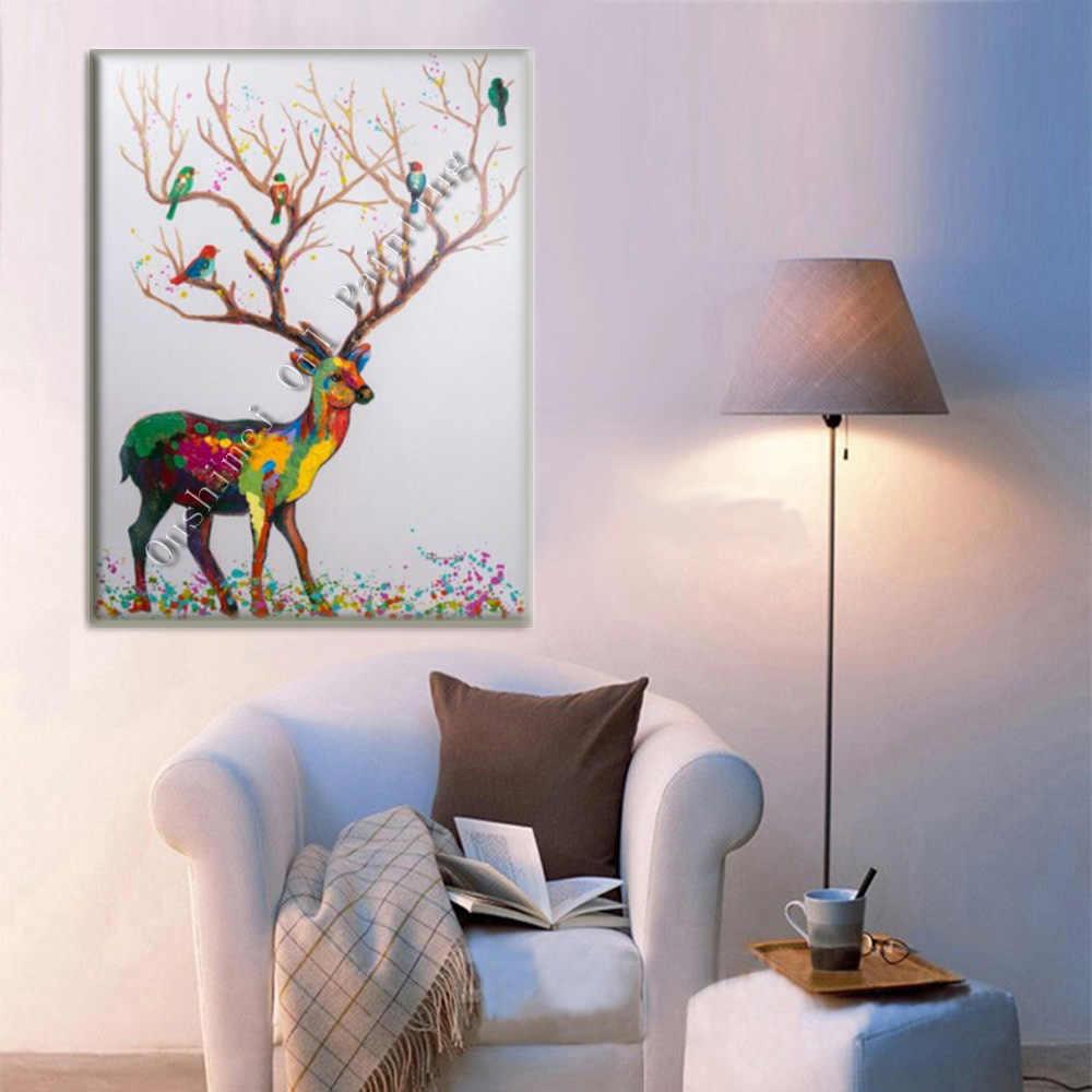 Beau cerf coloré 100% à la main peinture à l'huile sur toile animaux peintures pour décor à la maison moderne oiseaux de bois paysage