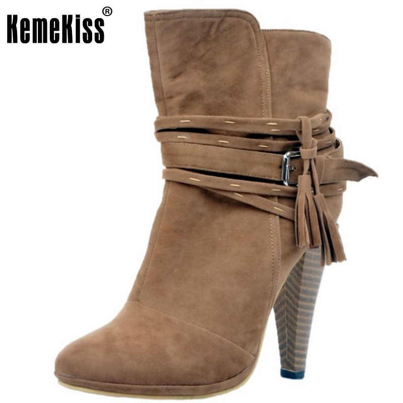 KemeKiss Women Spike Heel Ankle Boots Woman Pointed Toe High Heel Shoes Ladies Gladiator Tassel Ankle Strap Botas Size 34-47 rizabina women spike heel ankle boots woman pointed toe high heel ladies gladiator tassel ankle strap botas mujer size 34 47