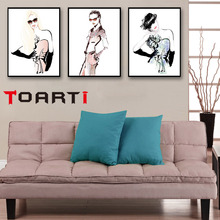 Modern Nordic Black White Fashion Model Large Canvas Art Print Poster Wall Picture Beauty Girl Room Home Decor No Frame