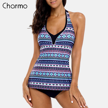 Charmo Women Tankini Set Two Piece Swimsuit Vintage Floral Printed Swimwear Tie Front Swimsuit Bikini Bathing Suit Retro Tankini спальный мешок outwell contour junior цвет фиолетовый 170 х 70 см