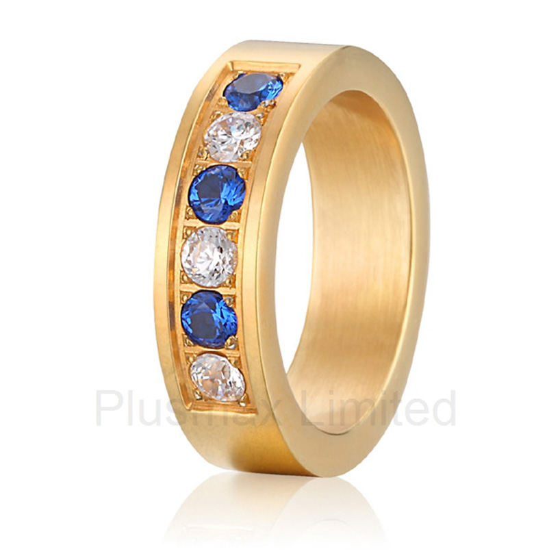 Anel de Casamento cheap pure titanium satin surface gold color colorful stone cheap pure titanium promise wedding band rings anel masculino cheap cheap pure titanium jewelry ring on sale men and women blue and white stone wedding band