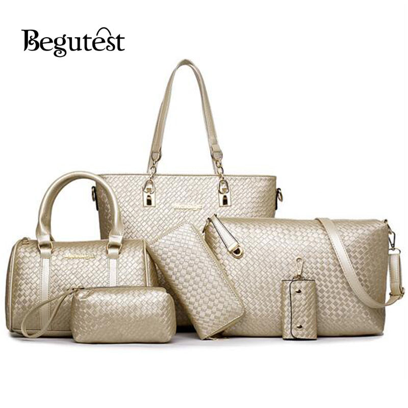 ФОТО New Begutest Brand Designer 6 In 1 Women Composite Bags High Quality Luxury Vintage PU Leather Woven Handbags Messenger Bag