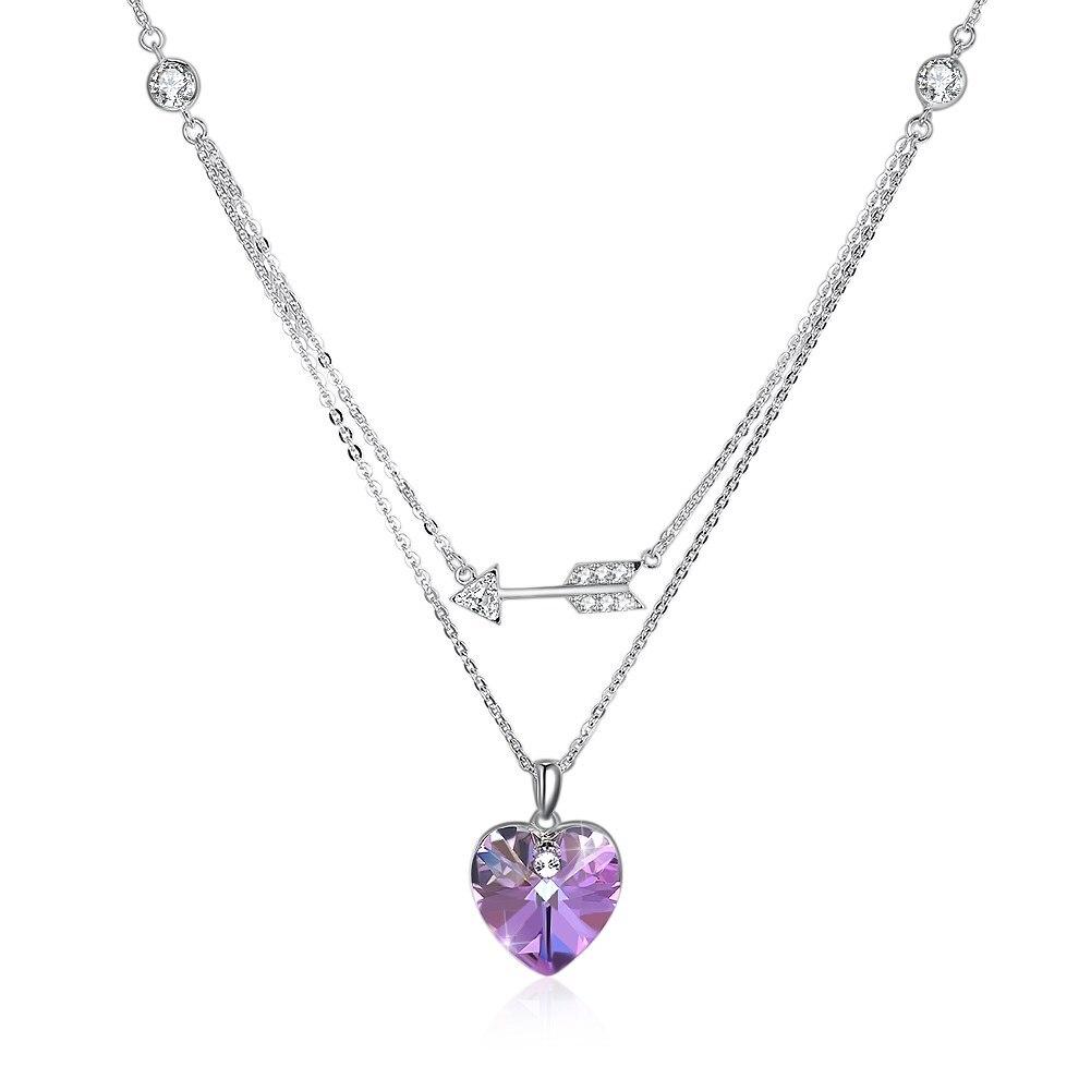 LEKANI Crystals from Swarovski Element 925 Sterling Silver Heart Arrow Pendant Necklace Wedding Fine Jewelry for Women stylish rhinestoned heart faux crystals beads tassel pendant necklace for women
