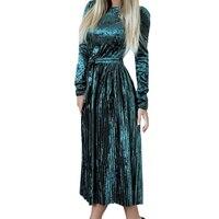 Fashion Women Dress Autumn Winter Pleated Velvet Dresses Long Sleeve Warm Elegant Velour Party Dress Female
