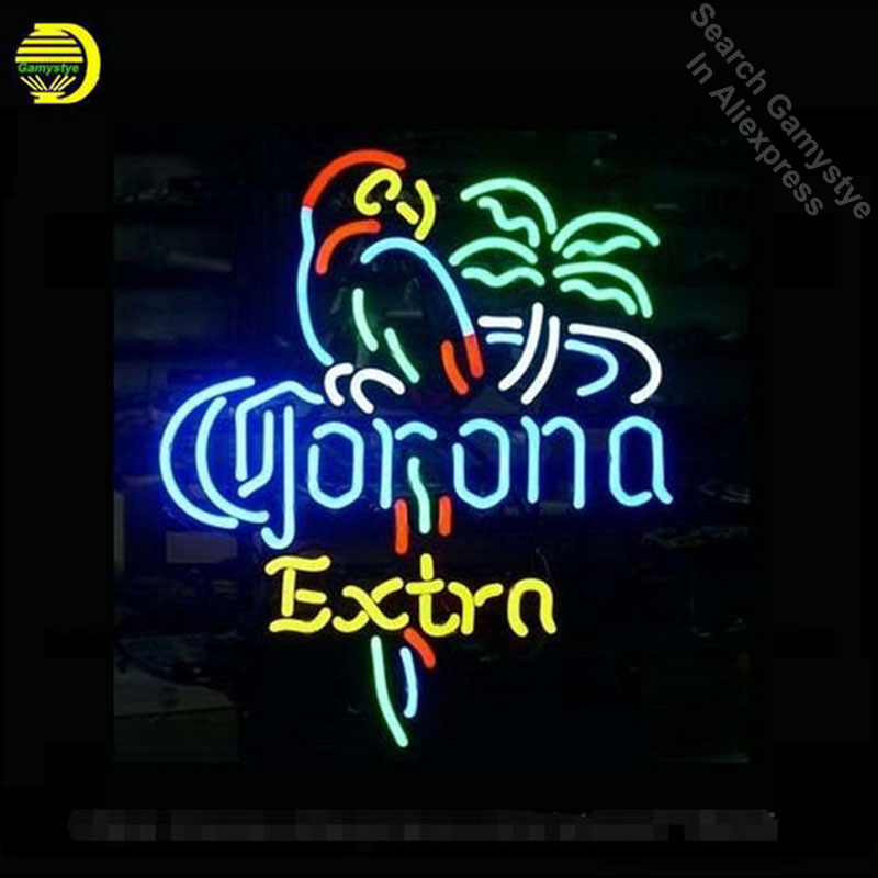 17*14 CORON EXTRA PARROT NEON SIGN Signboard REAL GLASS BEER BAR PUB Billiards display Restaurant Shop outdoor Light Signs image