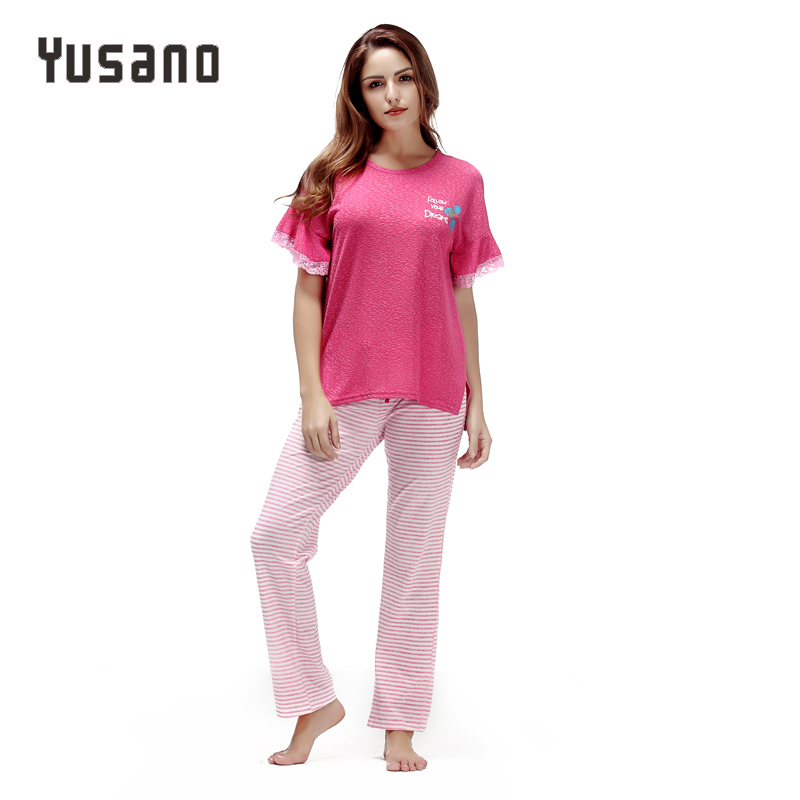 Women Pajama Set Cotton Short Sleeve With Lace Sleepwear Pyjama Sets For Women Casual Home Wear Clothing Fashion Nightwear