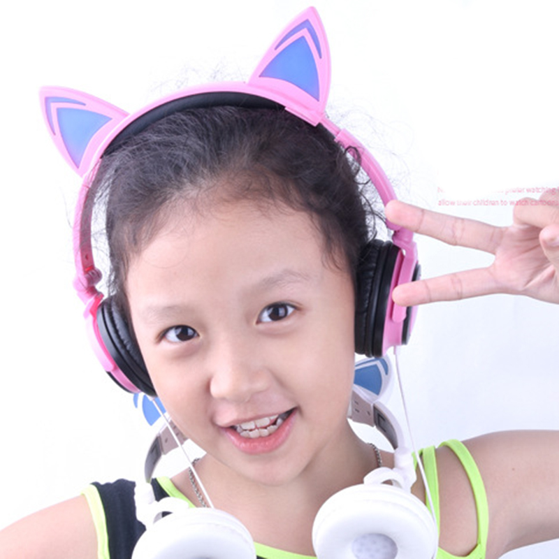 Foldable Flashing Glowing Cat Ear Headphones Gaming Headset Earphone with LED light For PC Laptop Smartphone Child's Headset #3 g1100 3 5mm pro gaming headset headphone for ps4 laptop crack pattern led led blue black red white