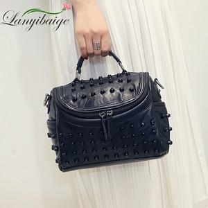 Image 4 - Fashion Women Messenger Bags Black Rivet Genuine Leather Shoulder Bag Sac a Main Crossbody Bags For Women Designer Handbags