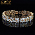 Good Quality Cubic Zirconia Created Diamond Setting Champagne Gold Plated Luxury Brides Bracelet For Wedding Party Event CB189