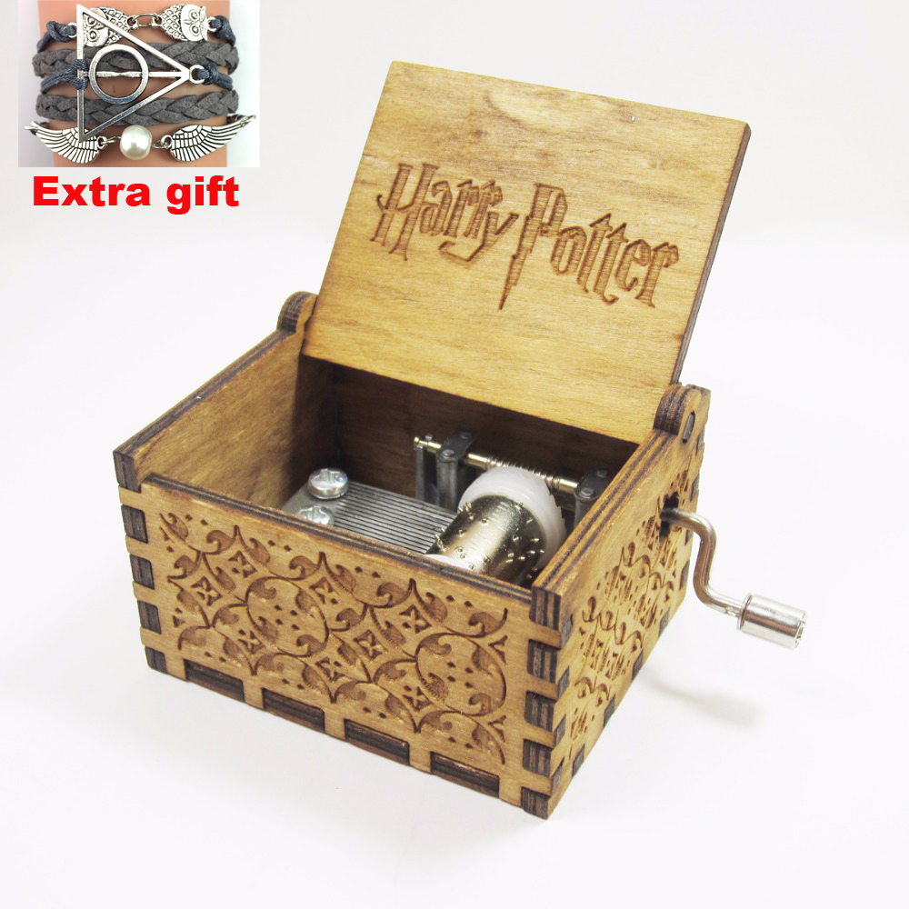 Antique carved wooden harry potter <font><b>music</b></font> box, Christmas gift, new year gift, birthday gift