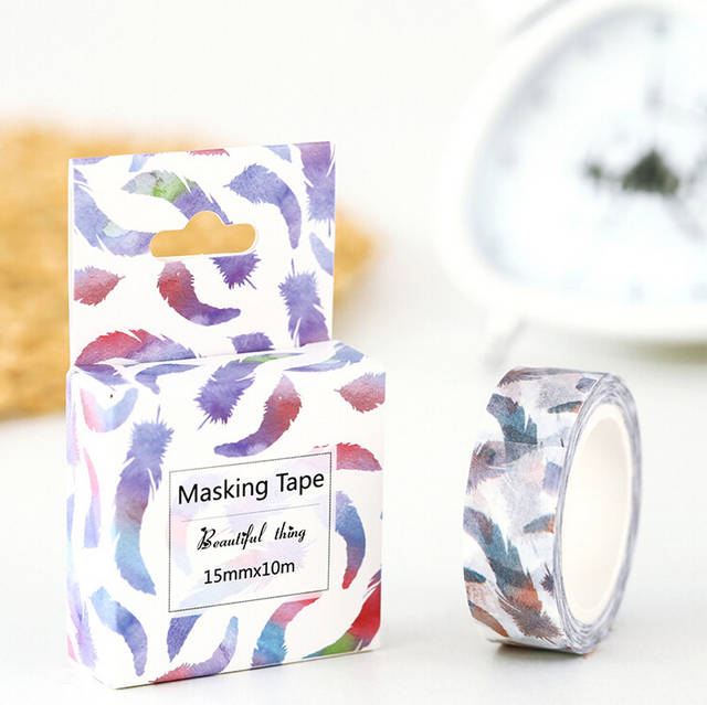 1.5cm Wide Watercolor Soft Feathers Adhesive Tape DIY Scrapbooking Sticker Label Masking Washi Tape