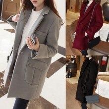 Puls Size XXL Winter Wool Coat 2016 New Winter Women Trench Coats Suit Lapel Long Sleeve Jackets Long Overcoat Woolen Outwear