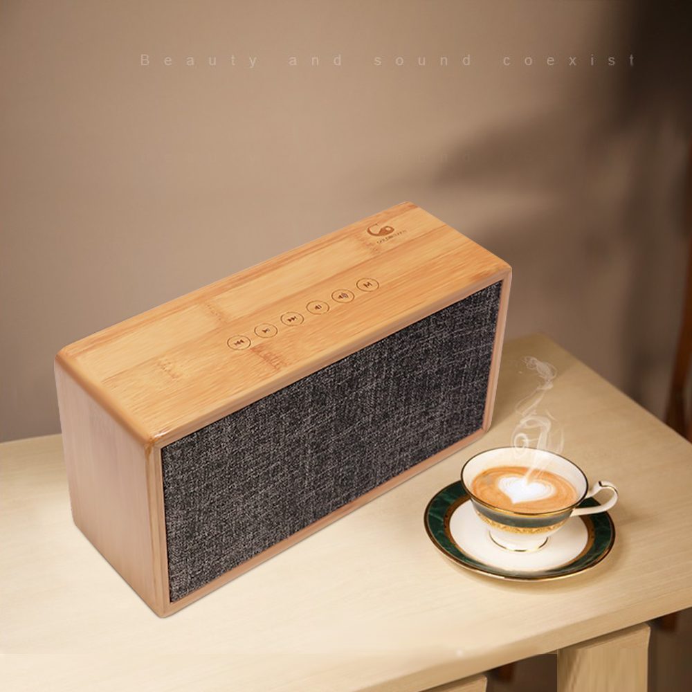 Goldbulous Bamboo HiFi Bluetooth Speaker 20W Super Bass Audio Home Theater Sound System Support Touch Sensor Switch TF Card AUX rotibox mini soundbar ultra compact portable mutimedia wireless stereo bluetooth speaker hifi powerful crystal sound with balacne audio deep bass cinema surround sound aux connection for outdoor sports play home audio