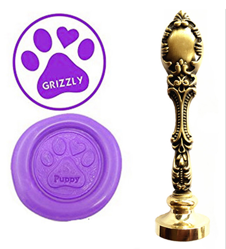 Dog Paws Vintage Custom Picture Logo Luxury Wax Seal Sealing Stamp Brass Peacock Metal Handle Gift Set vintage greyhound whippet dog luxury wax seal sealing stamp brass peacock metal handle gift set custom picture logo