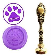 Dog Paws Vintage Custom Picture Logo Luxury Wax Seal Sealing Stamp Brass Peacock Metal Handle Gift Set