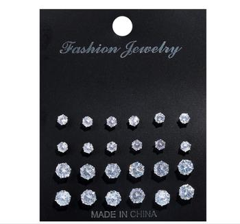 12 Pairs/set Fashion Cubic Zirconia Stud Earrings Set For Woman girls Simple Round Silver Color Earring Statement Party Jewelry