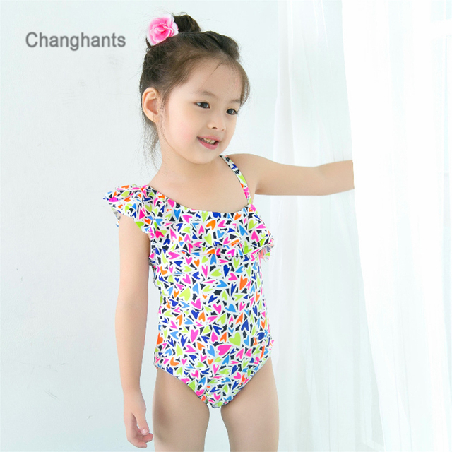 f1b12c6997d Baby Girl One Piece Swimsuit Swimwear for Girls with hearts pattern Kids  Swimming Wear Children Bathing Suit