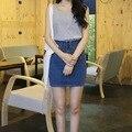 girls denim skirt high waist teenagers jean 2016 summer new arrivals pockets casual wear 160 cm