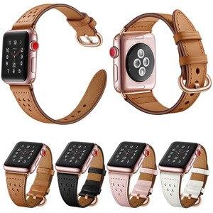 Image 1 - สายหนังแท้สำหรับ Apple นาฬิกา Band 5/4/3/2/1 44 มม.40 มม. iWatch 42 มม.38 มม.Rose Gold Buckle นาฬิกาเข็มขัด