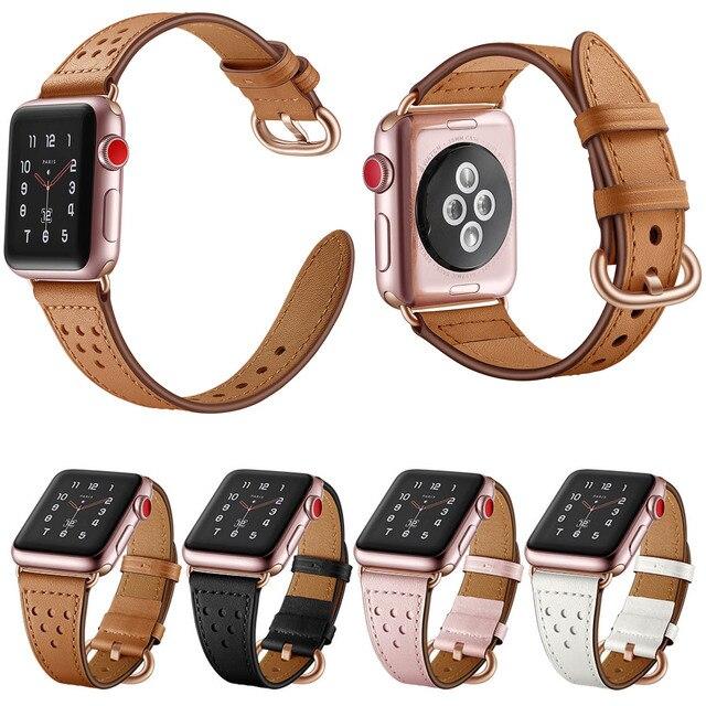 สายหนังแท้สำหรับ Apple นาฬิกา Band 5/4/3/2/1 44 มม.40 มม. iWatch 42 มม.38 มม.Rose Gold Buckle นาฬิกาเข็มขัด