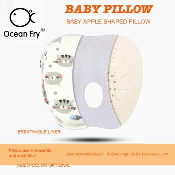 Baby Memory Pillow Anti-Deviation Head Breathable Mesh Cloth Printed Cotton Wool Ventilation Comfortable Baby Cartoon Style energy deviation