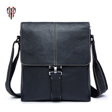 TIANHOO Genuine Leather bags for men 2018 Litchi pattern soft cowwide layer leather crossbody shoulder messenger