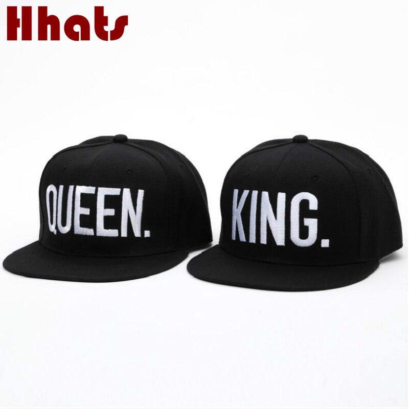 which in shower letter embroidery KING. QUEEN. hip hop cap black flat brim dance cap women men couple k pop bone lovers hats