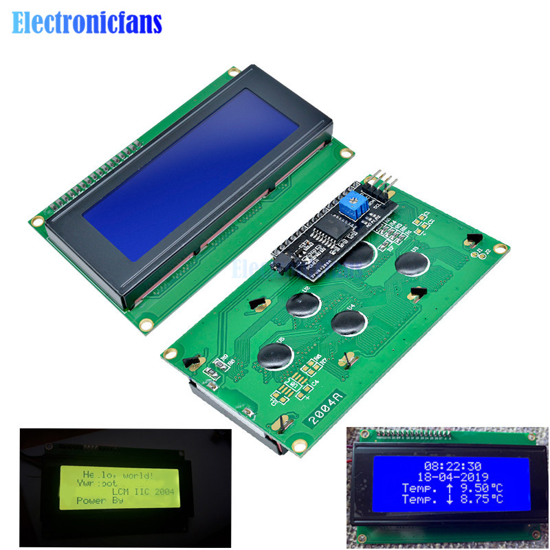 1PCS LCD2004+I2C 2004 20x4 2004A Screen HD44780 Character LCD /w IIC/I2C Serial Interface Adapter Module Yellow/Blue Display