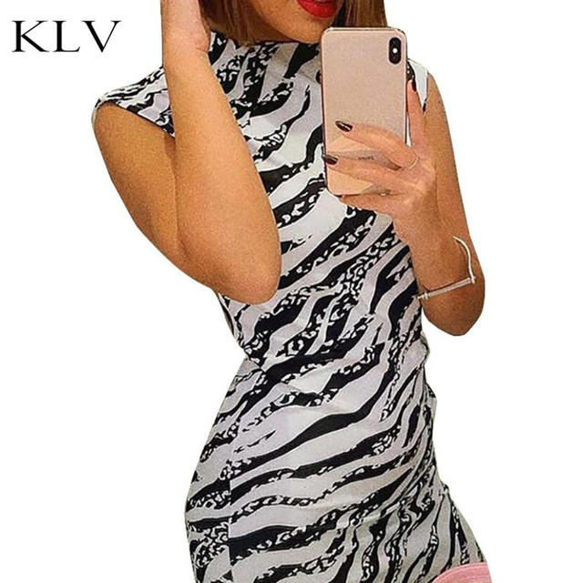 Women Summer Sleeveless Round Neck Evening Party Slim Knee Length Dress Vintage Zebra Stripes Print High Waist Cocktail Clubwear