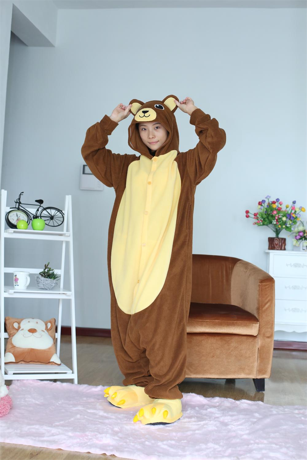 Adult Onesie Brown Bear Pajamas Sleepsuit Sleepwear Anime -9075