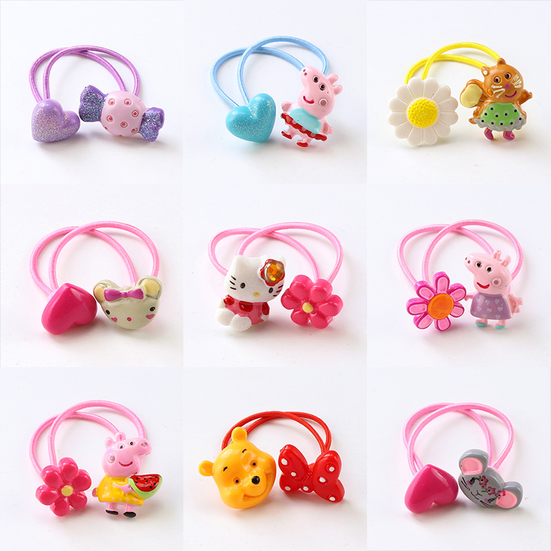 1PC New Baby Girls Cartoon Acrylic Animal Pink Elastic Hair Band Cute Rubber Bands Ponytail Holder Kids Hair Accessories Tie Gum kaku0025 12pcs lot colorful wide women big hair holders cute rubber bands hair elastics accessories girl tie gum mix color