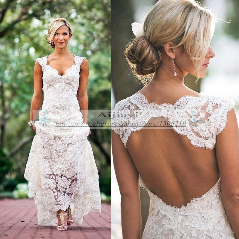 7b61eeac6205 Pretty Floral Lace Rustic Wedding Dresses 2017 V Neck Cap Sleeves Country  Style Backless Vestido de Novia 2017 Robe de Mariage -in Wedding Dresses  from ...